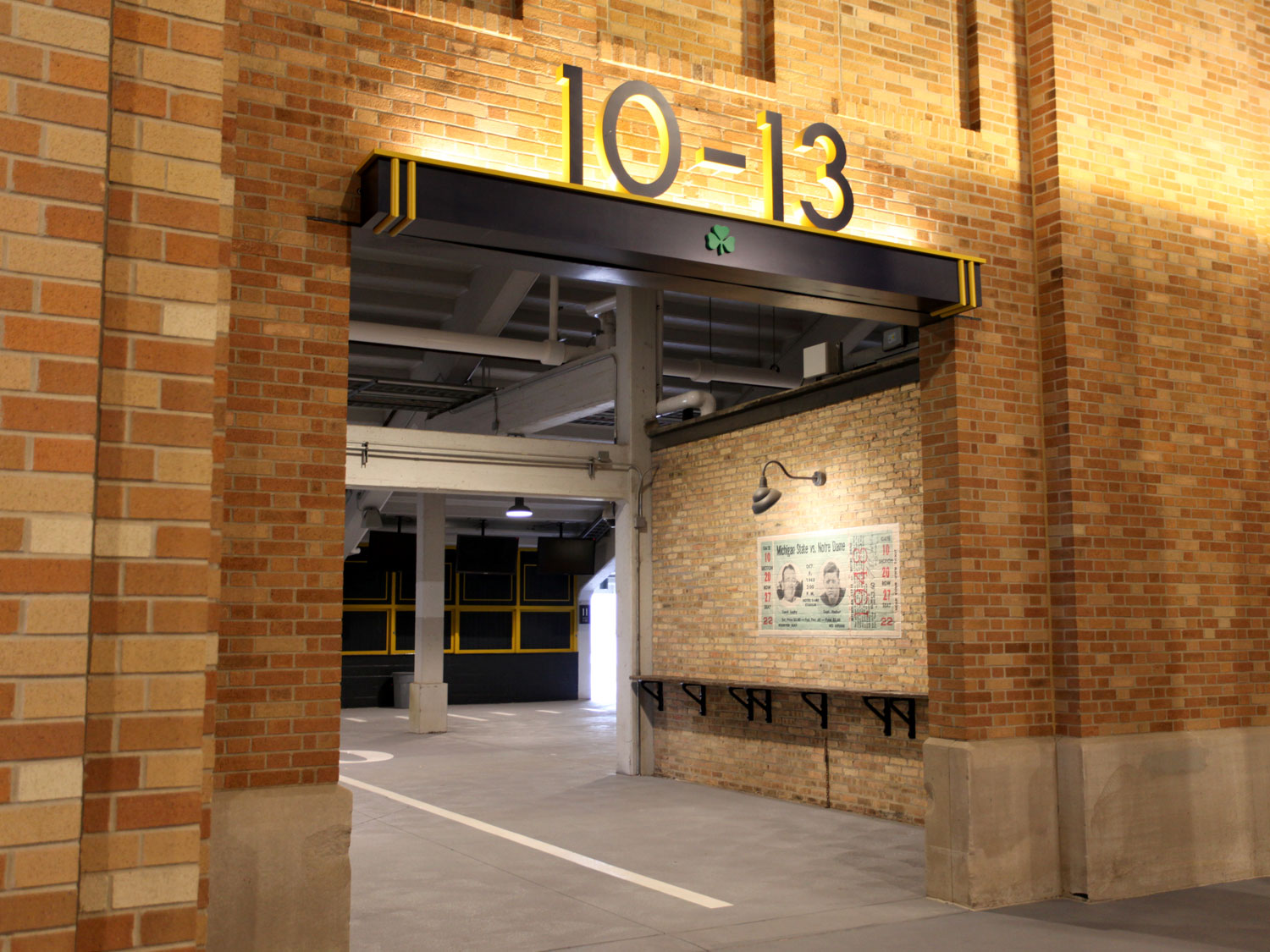 University of Notre Dame Indoor Stadium Section Signage