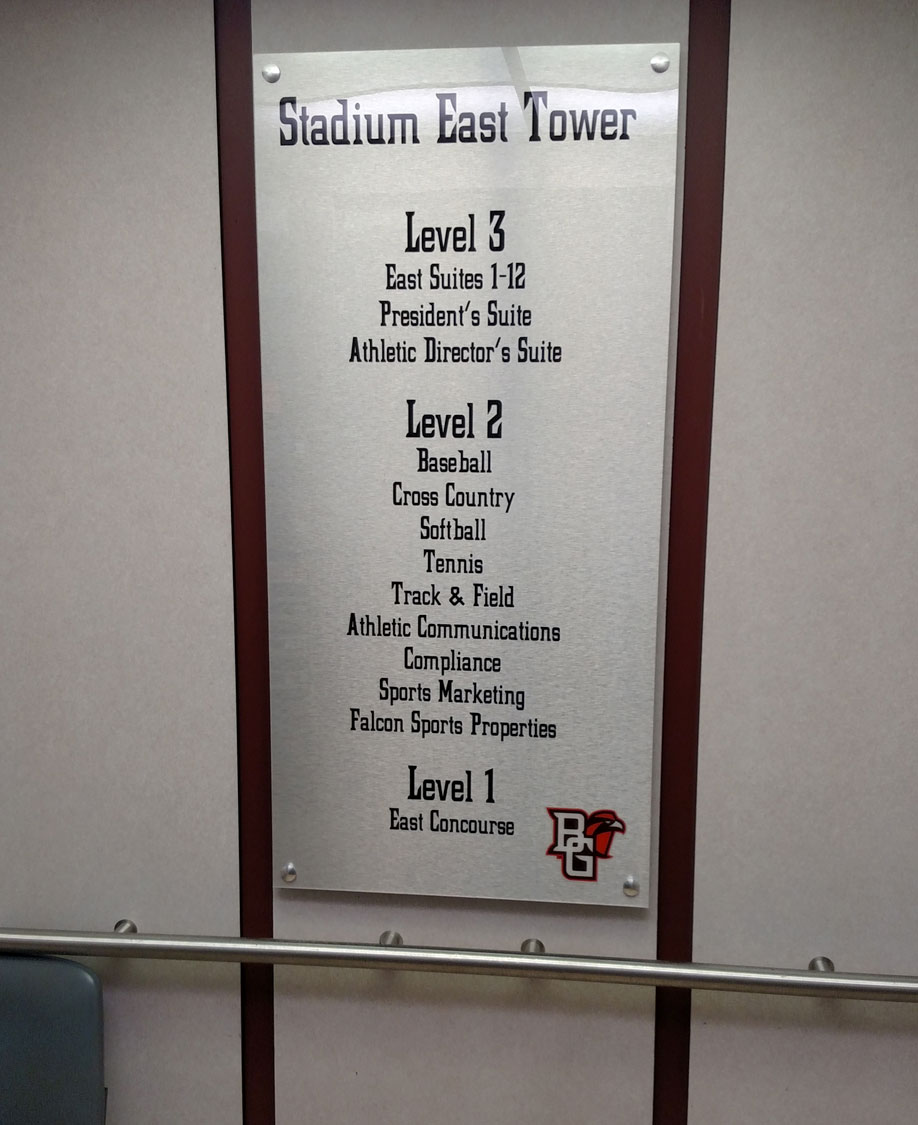 Bowling Green State University Stadium Directory Signage