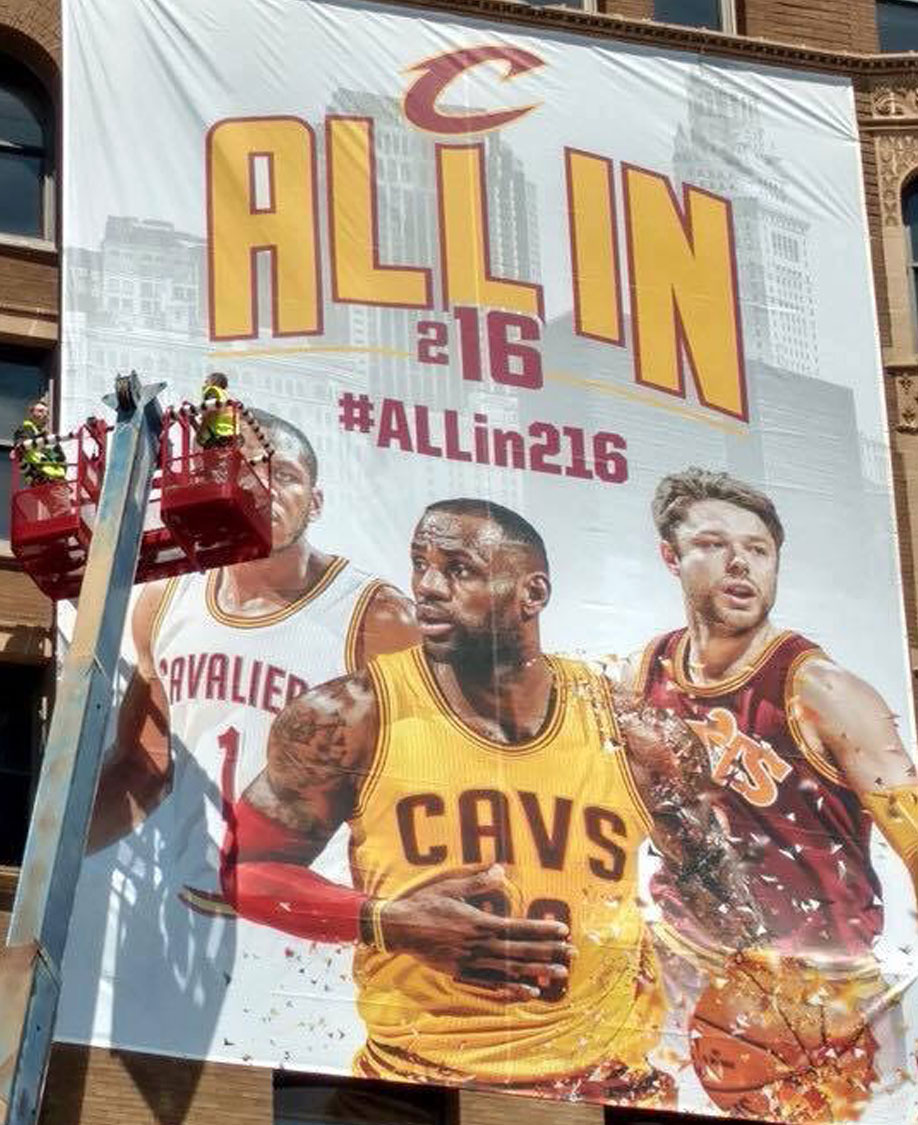 Cleveland Cavaliers Building Banner Graphics Install