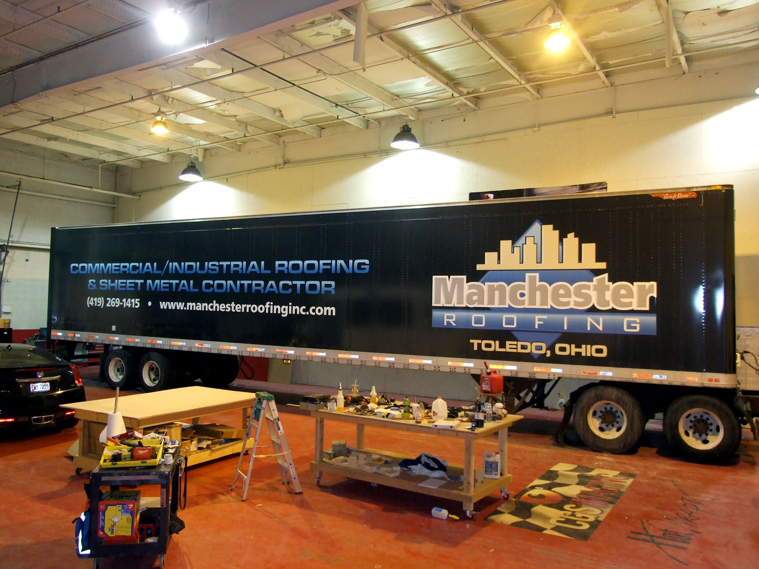 Manchester Roofing Trailer Wrap Graphics