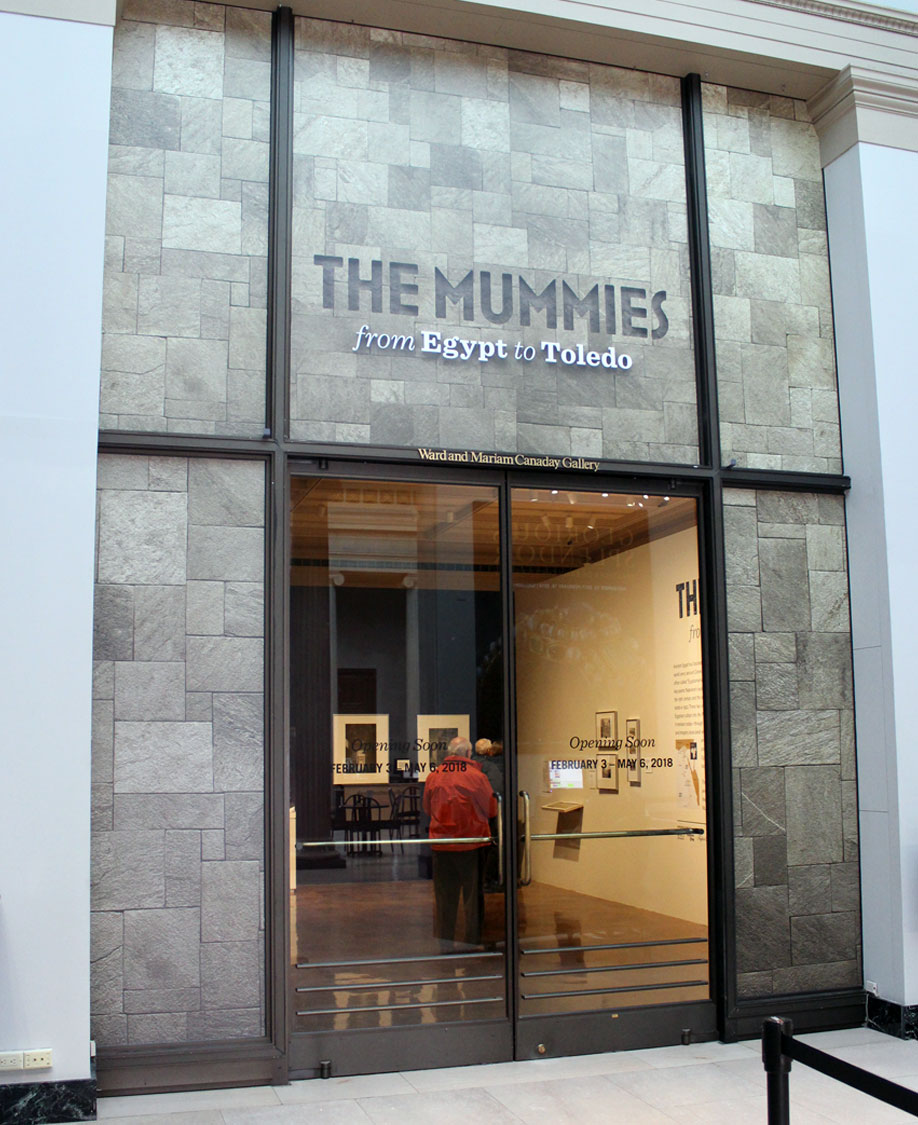 Toledo Art Museum Mummies Exhibit Display Entrance Signage