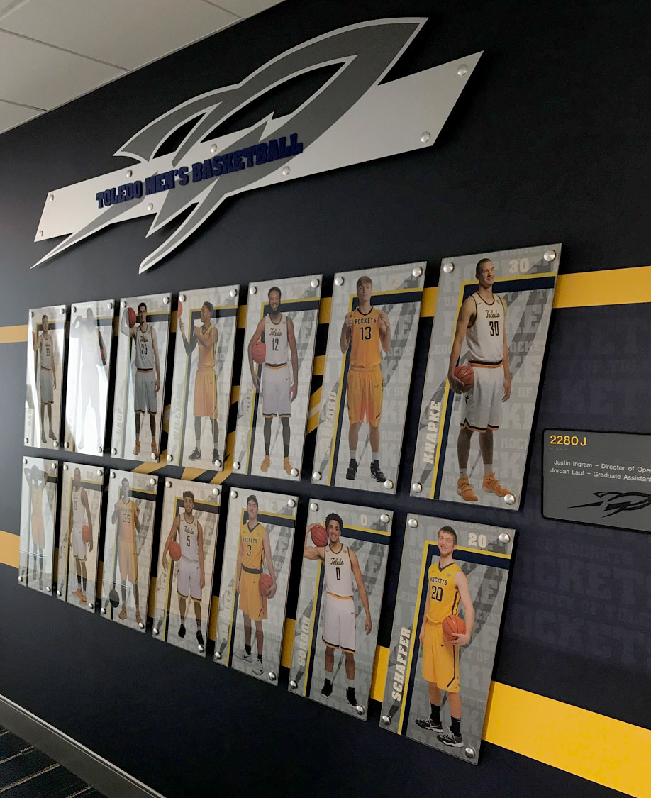 University of Toledo Basketball Dimensional Graphic Display
