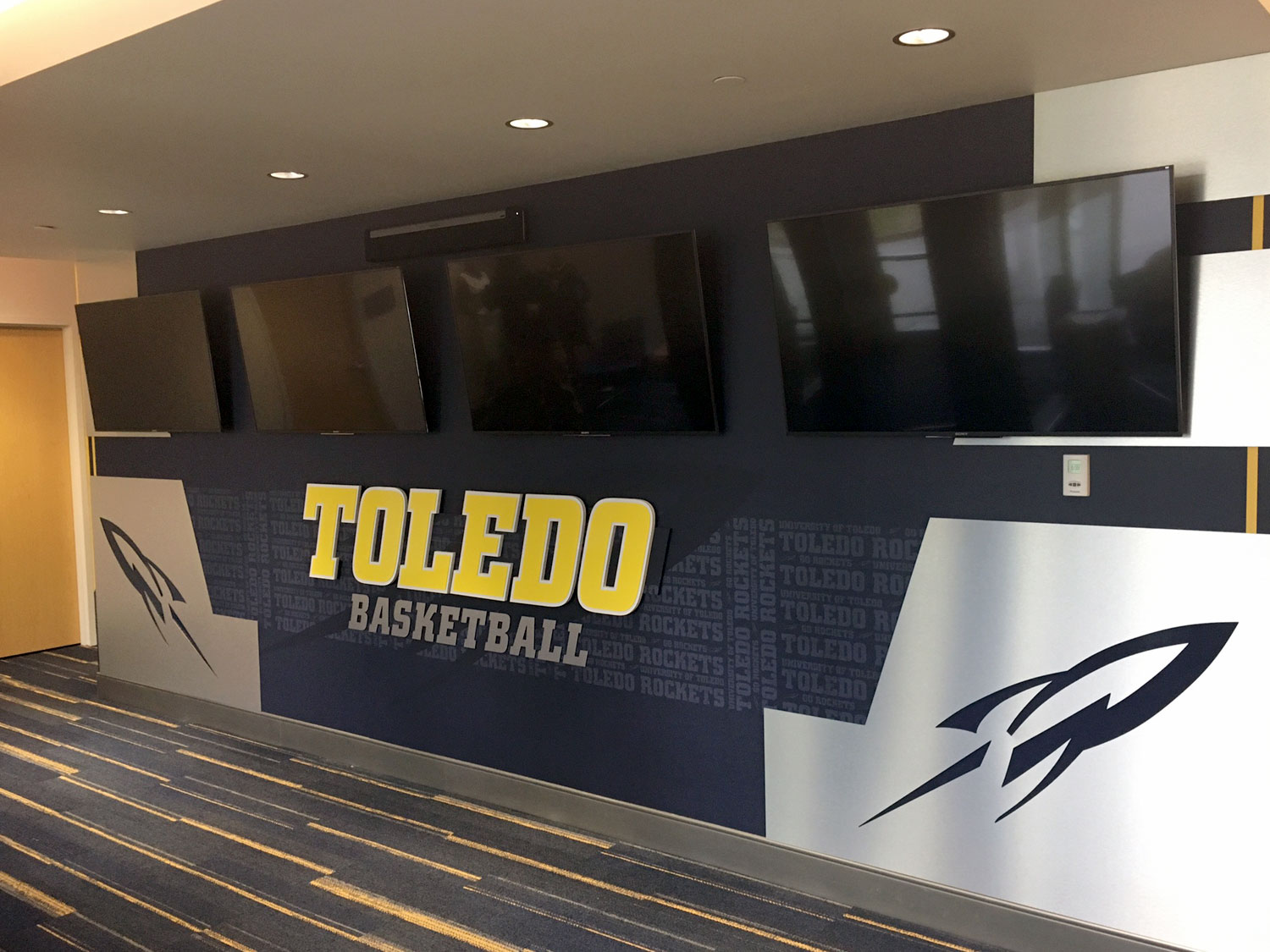 University of Toledo Basketball Wall Graphics Display