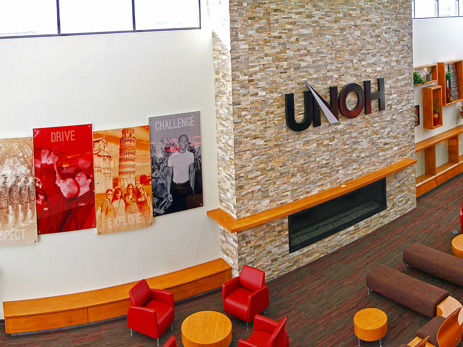 UNOH Commons Graphics and Dimensional Signage