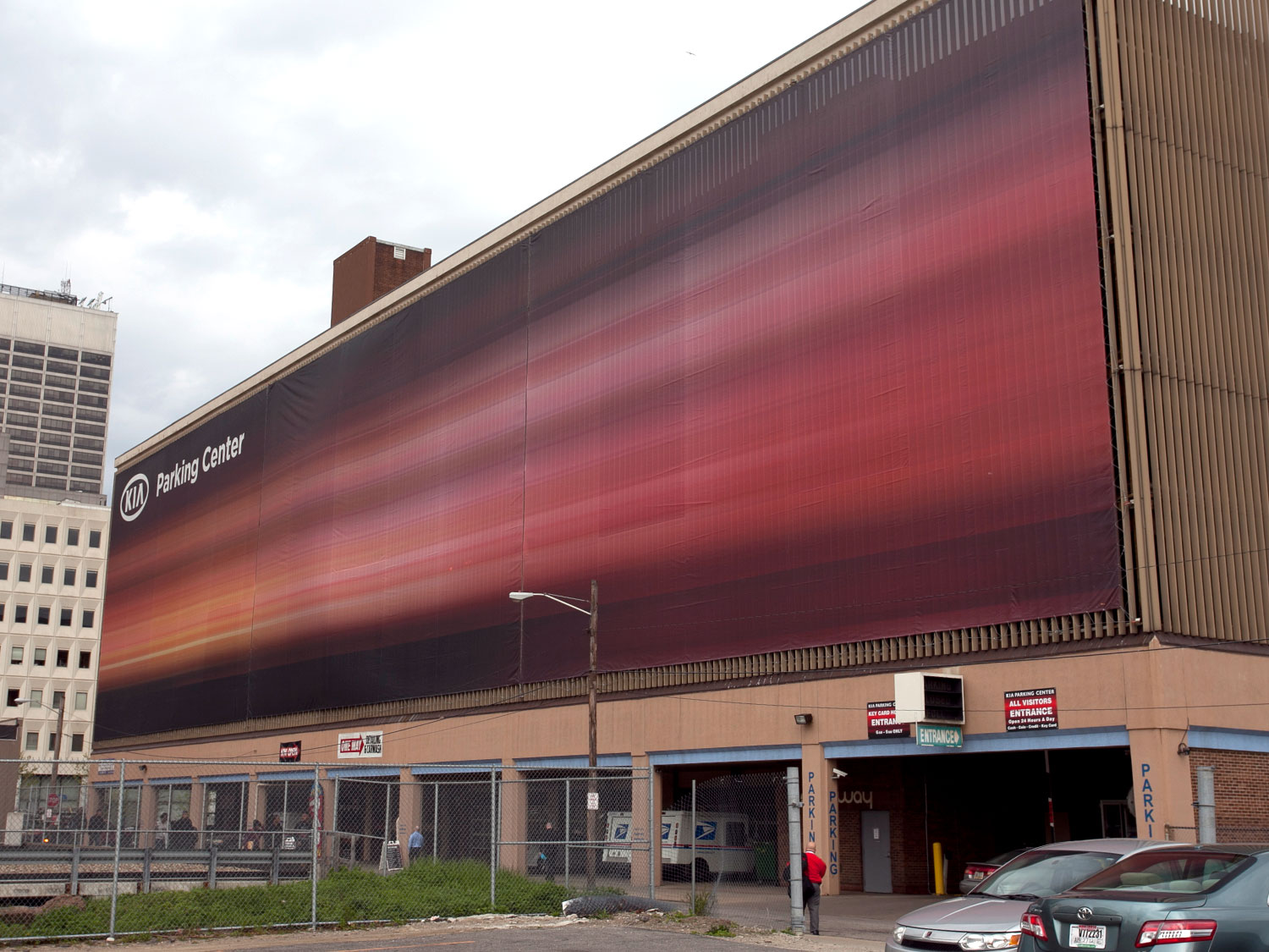 Kia Parking Center Large Format Building Banner Graphic